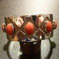 ナバホ Tommy・Jackson オーバレイ レッドコーラル バングル約15・5〜16・5cm用