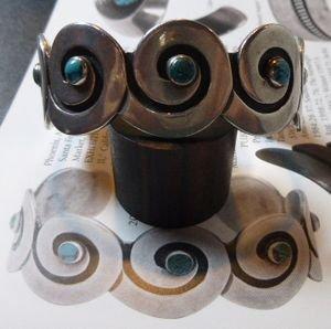 画像1: ナバホ Kenneth・Begay Whirling・Pattern×ターコイズ付 バングル約16〜17cm用