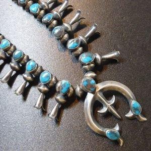 画像1: ナバホ 60Sアンティーク ラベンダーピット・ビスビーターコイズ付 スカッシュブロッサムネックレス約60cm