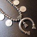ナバホ 60S?アンティーク 25セントクォーターダラーコイン付 スカッシュブロッサムネックレス約66cm
