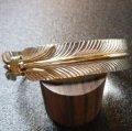 ナバホ シルバー&ゴールドライン フェザーモチーフ バングル約15〜16・5cm用