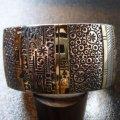 ナバホ Norbert・Peshlakai シルバー&ポイント14Kゴールド スタンプワーク バングル約16〜17・5cm用