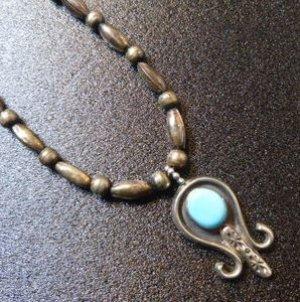 画像1: ナバホ 70〜80Sオールドポーン ターコイズ付 ナジャ ネックレス約60cm