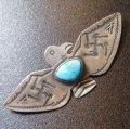 Used・Antique 卍(スワスティカ)etc ターコイズ付 サンダーバード型ピンブローチ