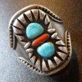ナバホ 70S オールドポーン ターコイズ&コーラル付 BIGワイズバングル約15〜16cm用