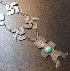 画像1: Used・Antique スワスティカ(卍)×ターコイズ&インディアンボーイ? ネックレス約66cm