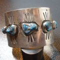 ナバホ 60〜70年代Used・Antique ローンマウンテンターコイズ付 バングル約16・5〜17・5cm用