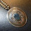 ナバホ Gibson・Nez スタンプワーク×レッドマウンテンターコイズ付 ネックレス約67cm