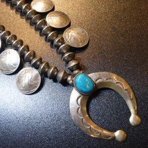 画像1: ナバホ 50〜70S?アンティーク コインシルバー 本物50セントコイン&10セントコインビーズ×キャストナジャ ネックレス約64cm