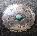 Used・Antique スタンプワーク 卍(スワスティカ)&ターコイズetc ピンブローチ