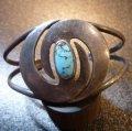 ナバホ 60年代Used Antique ターコイズ付 竜巻モチーフ バングル約16〜17cm用