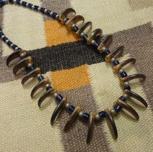 画像1: 部族不明 本物べアークロー&アンティークビーズetc ネックレス