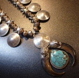 画像1: ナバホ 本物オールド1ドルモーガン ターコイズ&ベアクロー ネックレス約65cm