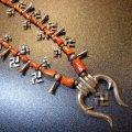 Used・Antique ターコイズ付スワスティカ(卍)&レッドコーラル スカッシュブロッサムネックレス約80cm