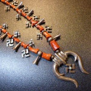 画像1: Used・Antique ターコイズ付スワスティカ(卍)&レッドコーラル スカッシュブロッサムネックレス約80cm
