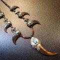 ナバホ 本物グリズリー&ベアクロー×ターコイズ付 シェルネックレス約68cm
