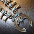 ナバホ 70S〜オールド パージャンターコイズ付 スカッシュブロッサムネックレス約68cm