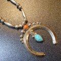 ナバホ 60〜70Sオールドポーン キャストナジャ×ターコイズ&コーラル付 ネックレス約67cm