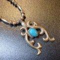 ナバホ 70Sオールドポーン キャストナジャ&ターコイズ付 ネックレス約65cm