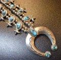 ナバホ 70S〜オールド パージャンターコイズ付 スカッシュブロッサムネックレス約67cm