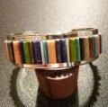 ナバホ Tommy・Jackson インレイ マルチカラーストーン バングル約16〜16・5cm用